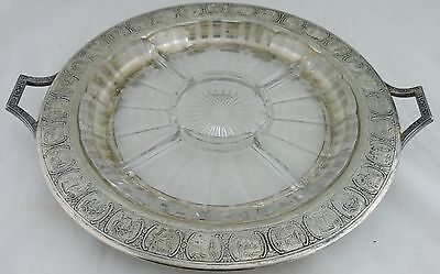 Antique Silver Plate Cut Glass Or Crystal Divided Tray Platter Dutch Folk Scene