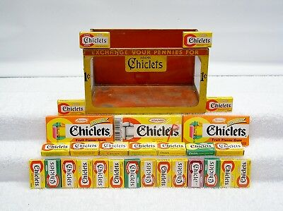 Rare Chiclets Gum Candy Store Counter Tin Display Box With Chiclets