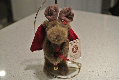 Boyds Bears Plush Christmas Ornament - MOOSE HOLDING BELL w/Tag