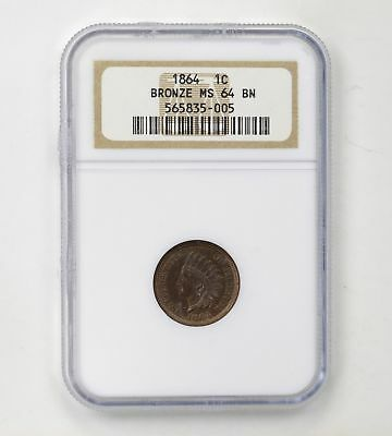 Bronze MS64BN Indian Head Cent - Type 3 - NGC Graded *4294