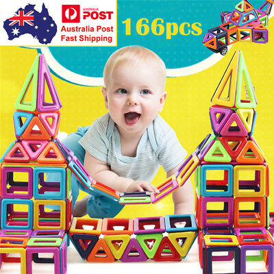 166PCS Magnetic Building Blocks Construction Educational Kids Magic Toy Gift AU