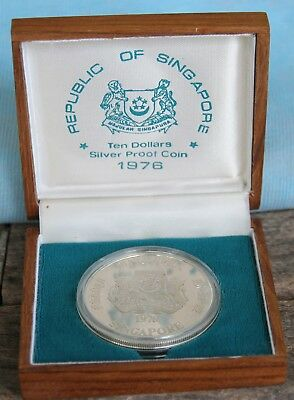 1976 Singapore Silver Proof $10 in original box - super item highly collectible