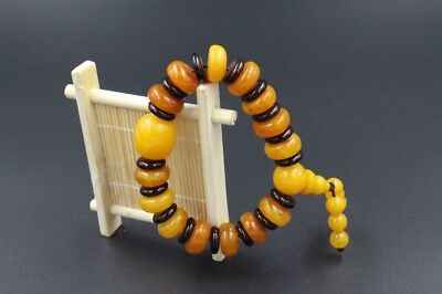 100% Natural Baltic Amber  lovely multicolor  Bead Sphere Ball Bracelet AAAAA