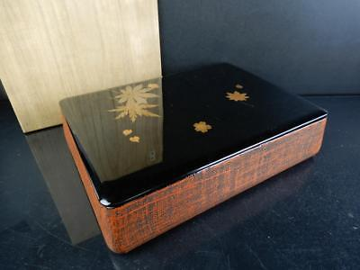 J1313: Japanese Wooden Lacquer ware LETTER BOX Fumibako Calligraphy tool