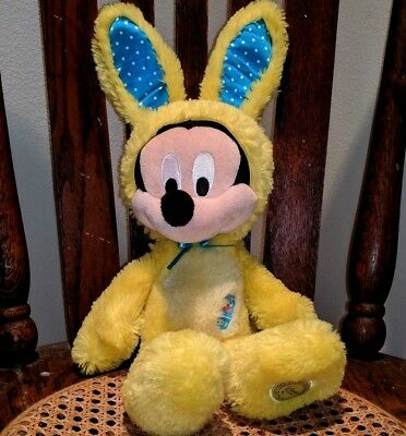 """Walt Disney's Mickey Mouse Plush Sitting 14"""" Stuffed Animal Easter Bunny Outfit"""