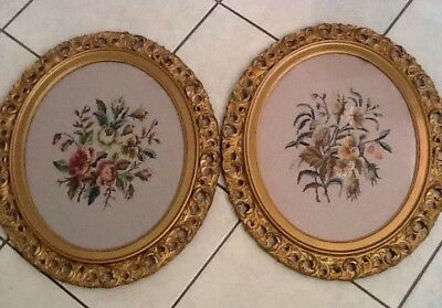 Antique Wood Oval Frame Gold Victorian Carved Gilt Cutout Stitch Flower Picture