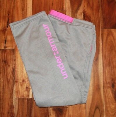 Under Armour Storm Cold Gear Fleece Lined Gray/pink Pants Youth Xl