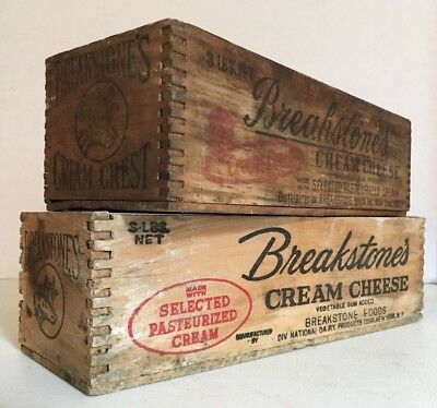 Lot Of Two Antique Primitive Vintage Wood Cheese Boxes Breakstones Cheese