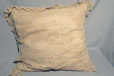Very Large Victorian Lace Romantic Pillow Lovebirds Down-Filled