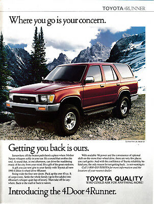 1990 Toyota 4Runner SUV-4 Wheel Drive V-6 Engine-Seats 5 -Original Magazine Ad