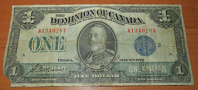 1923 Dominion of Canada One Dollar - Blue Seal - Large Note - NO RESERVE