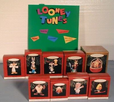 (H6) Hallmark Looney Tunes Lot Of 9 Ornaments In Box And Rare Display 1994