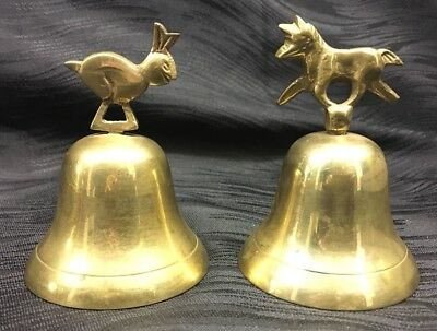 Vintage Solid Brass Set Of Bells Fox And Rabbit Hare Unique Pair Estate Find