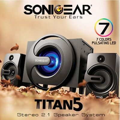 Bluetooth Speaker SonicGear Titan 5 Stereo System USB Ultra Bass 7 Color LED 20W