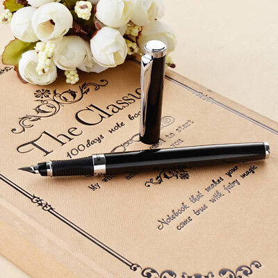 3Pcs Black Hero 9075 Metal China Fountain Pen Medium Fine Nib 0.5mm Xmas Gift