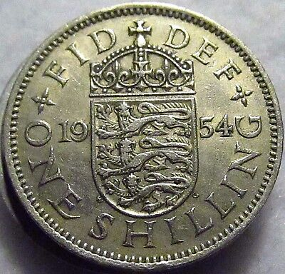 1954 GREAT BRITAIN SHILLING, English Crest ~ KM# 904