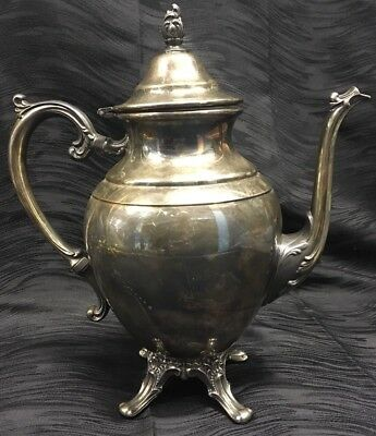 "VINTAGE WM. ROGERS FOOTED SILVERPLATE COFFEE/TEA POT 10"" Hinged Lid"