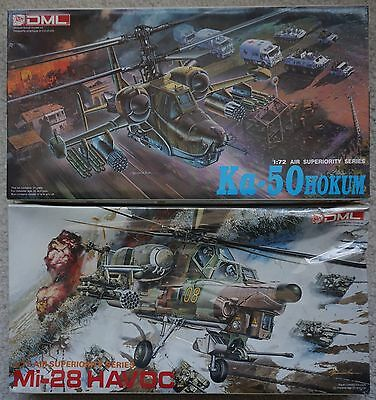 2 DML 1/72 Russian Helicopter Kits - Ka-50 Hokum (open) & Mi-28 Havoc (sealed)