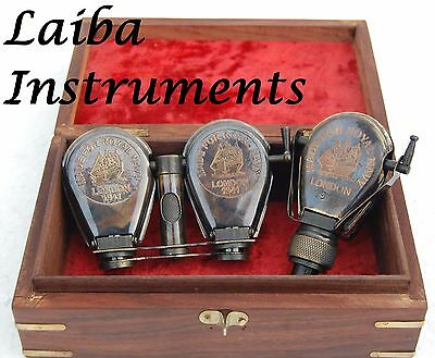 Brass Binocular Marine Folding Monocular Pocket Telescope Spyglass W/wood Case@