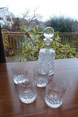 HEAVY CUT CRYSTAL DECANTER 27cm high WITH 4 GLASSES