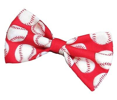 Red Baseballs Bow Tie - Clip on Bowtie