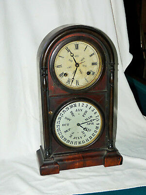 """Rosewood Welch Spring And Co. """"italian"""" Model Calendar Clock In Fine Condition"""