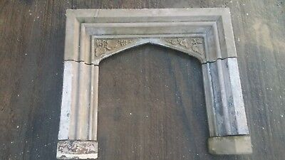 Antique Victorian Carved stone fire surround with leaf decoration
