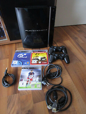 Sony PlayStation 3 80 GB Piano Black + 2 Controller + 7 Spielen + alle Kabel