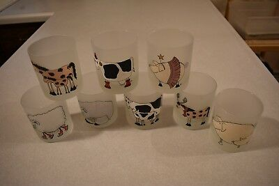 Dartington Designs Frosted Glass Set 8 Glasses Cows Horses Pigs Sheep TUMBLERS