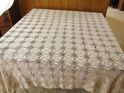 Antique Crocheted Lace Tablecloth Coverlet Beige Cotton 70 by 120 inch Pinwheel