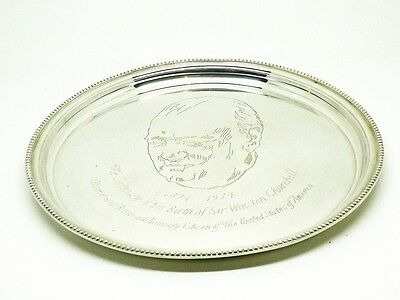Solid Silver Salver, Sterling, Winston Churchill Limited Edition, Cased, HM 1974
