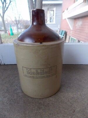 Antique old Mobil Mobiloil advertising stoneware jug Early 1900's gas oil sign