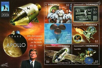 First Man on the Moon Space 6v Stamp Sheet (2009 Dominica) JFK/Apollo XI Crew