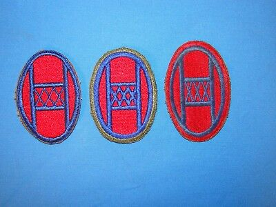 Nice WWII 30th Infantry Division Variation Patch Trio (4)