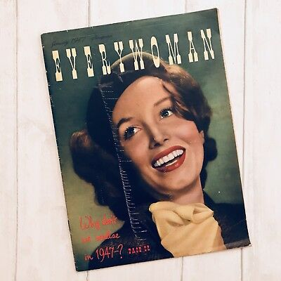 Vtg 1940s Everywoman Women's Magazine Jan 1947 - Fashion, Hair & Beauty, Recipes