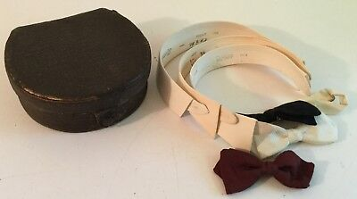 Vintage Leather Collar Box with Collars and Bow Ties