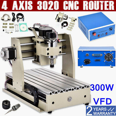 4 AXIS 3020 CNC ROUTER Engraver Drilling Milling 3D Carving Cutter Engraving USA