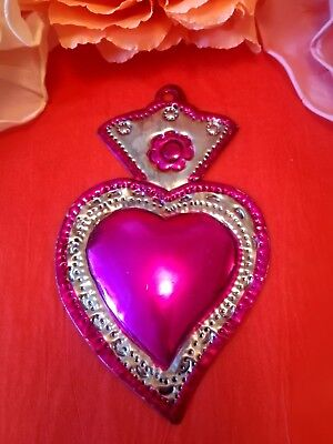Authentic Mexican Tin Folk Art Classic Flaming Sacred Heart Milagro Pink