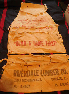 2 old nail Lumber yard aprons Fred A Smith & Riverdale Bib Waist chicago