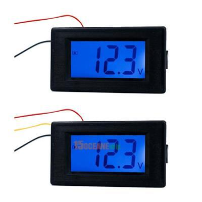 4-30V/0-100V 2/3 Line Digital Voltage Meter Gauge Blue LCD Backlit Panel Monitor