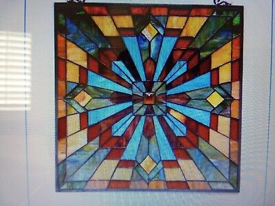 "Astoria Grand Stained Glass Window Panel 24""x24"""