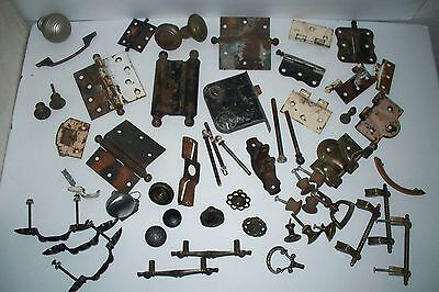 Huge 55 piece lot of Antique & Vintage Door Hinges, Door Hardware, Drawer Pulls