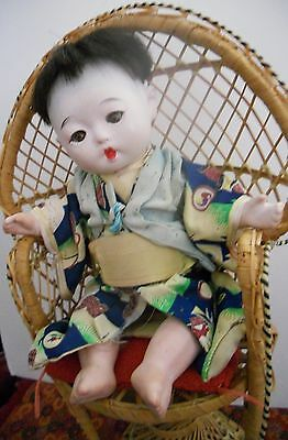 Vintage Japanese Oriental Gofun Boy doll NEED TLC FREE SHIPPING USA ONLY