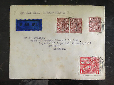 1924 England First Flight Cover via Imperial Airways to Zurich Switzerland FFC