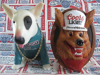 """NEW VTG 1987 COORS LIGHT BEER WOLF 3-D """" FACE IN MOTION """" Hanging Bar Club Sign"""