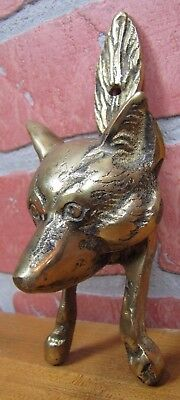Vintage Brass Dog Wolf Coyote Head Figural Door Knocker Architectural Hardware