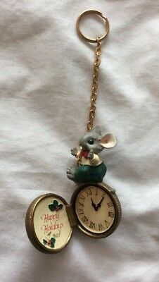 VINTAGE ~ HAPPY HOLIDAYS ~POCKET WATCH with MOUSE ORNAMENT KEYCHAIN