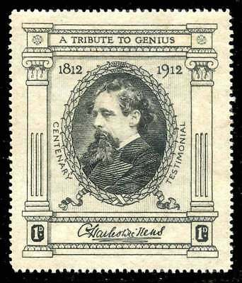 """Great Britain Poster Stamp - 1912 Dickens """"A Tribute to Genius) 1d Fundraiser"""