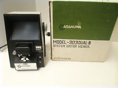 Vintage Asanuma 303 Dual 8mm Movie Film Viewer Editor with Splicer Kit - Nice!