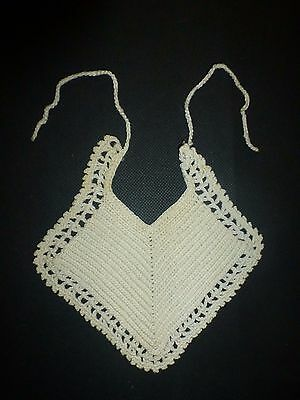 Vintage Baby Girls Cream White Crochet Bib